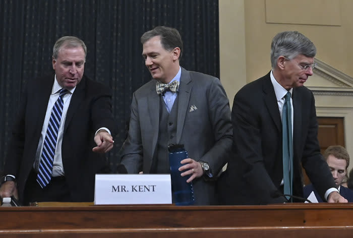 Top US diplomat in Ukraine William Taylor (R) and George Kent (L), the deputy assistant secretary of state for European and Eurasian Affairs testify during the House Intelligence Committee on Capitol Hill in Washington, DC on 13 November 2019. Picture: AFP