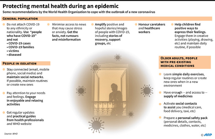 Some mental health suggestions from the World Health Organization to cope with the outbreak of the novel coronavirus.