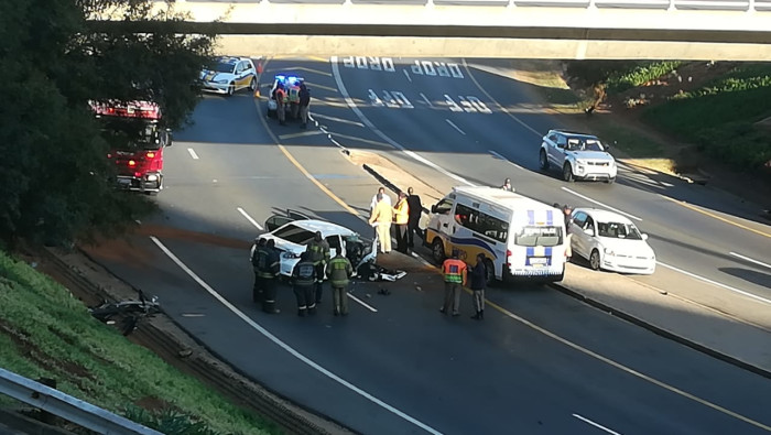An image of the crash scene where Bosasa CEO Gavin Watson died in Johannesburg on Monday, 26 August 2019. Picture: Supplied