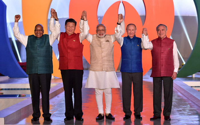 South African President Jacob Zuma, Chinese President Xi Jinping, Indian Prime Minister Narendra Modi, Russian President Vladimir Putin and Brazilian President Michel Temer at the BRICS Summit in Goa on 16 October 2016. Picture: GCIS.