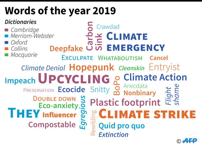 Buzzwords for 2019. Picture: AFP