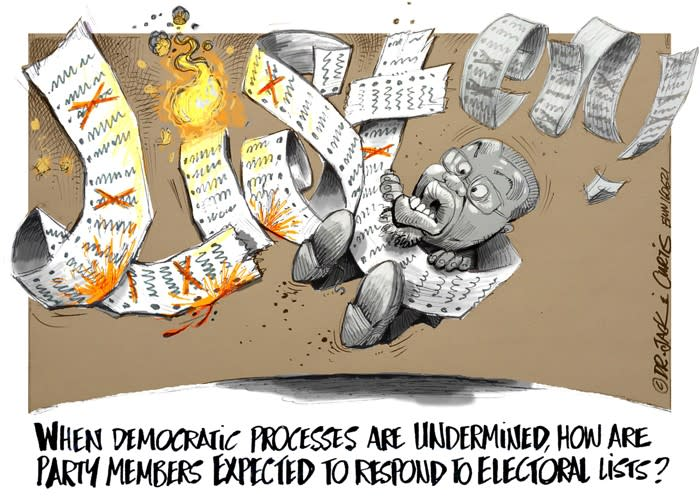 CARTOON: Gwede Mantashes list turns on him