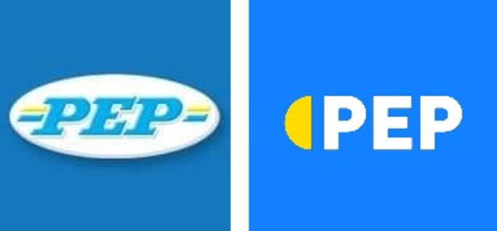 Former and new PEP logos. Two separate images: PEP on Facebook.
