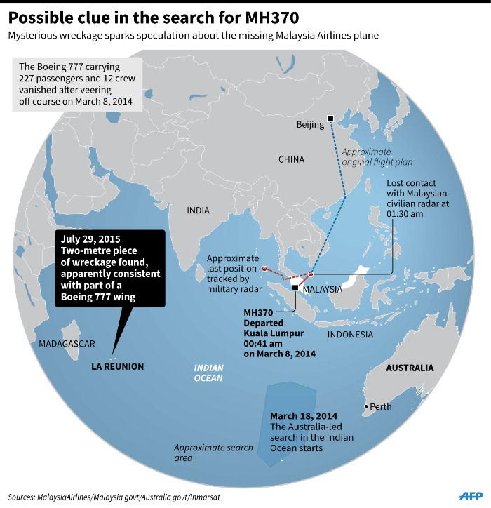 Graphic showing the search for Malaysia Airlines MH370 and La Reunion where wreckage of a wing has been found.