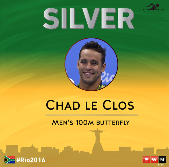 South Africa's Chad le Clos has won his second silver at the Rio Olympic Games in the 100 meters butterfly.