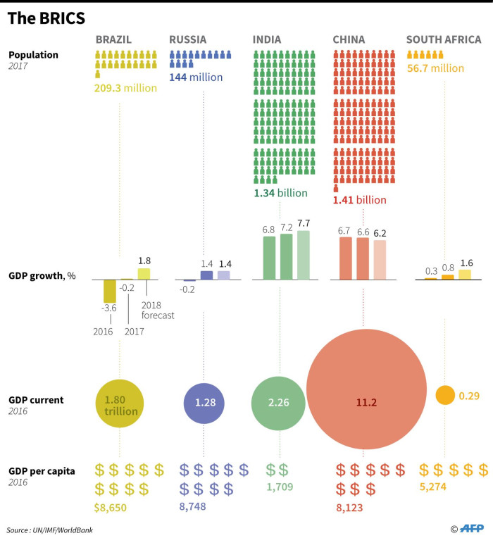 Take a look at an economic factfile on the BRICS group - Brazil, Russia, India, China and South Africa. Picture: AFP