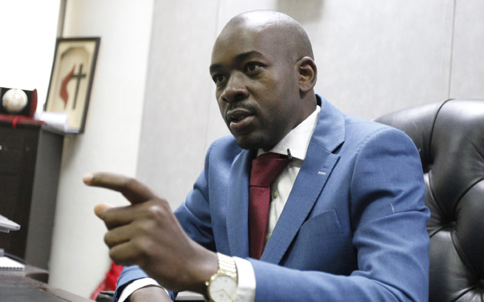 Zimbabwe opposition leader and president of the Movement for Democratic Change (MDC) Nelson Chamisa in Harare on 3 July 2018. Picture: AFP