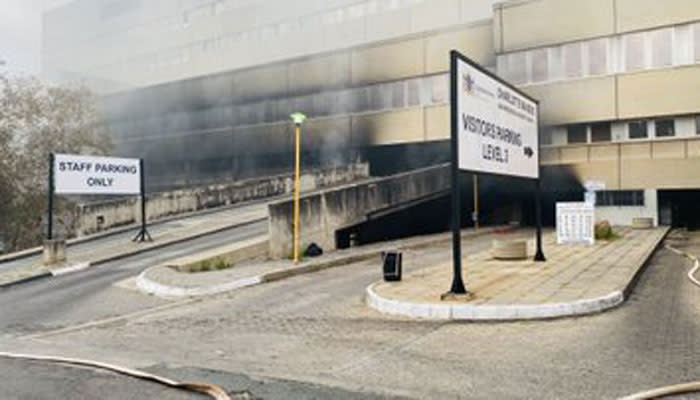 Charlotte Maxeke Hospital after a fire on 17 April 2021. Picture: Twitter @GautengHealth