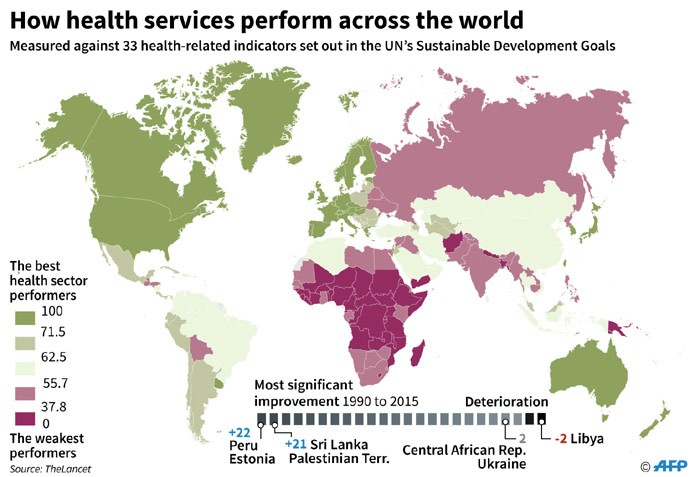 Map ranking countries health services according to a study publised in The Lancet.