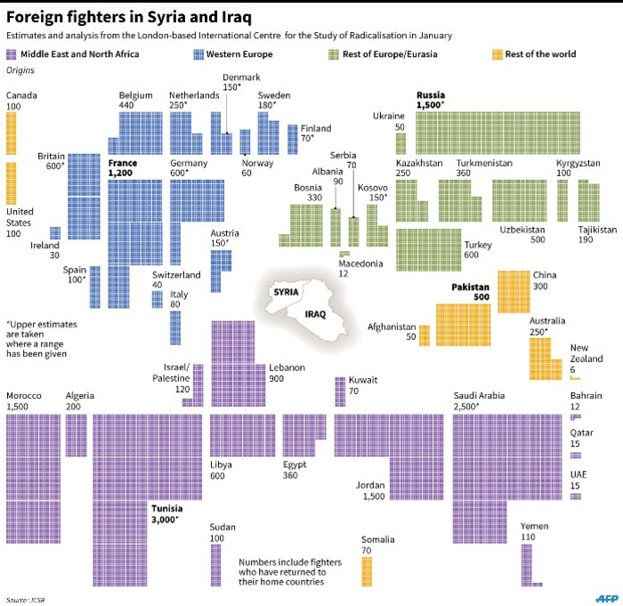 Graphic on foreign fighters in Syria and Iraq, according to data produced by the London-based International Centre for the Study of Radicalisation in January.