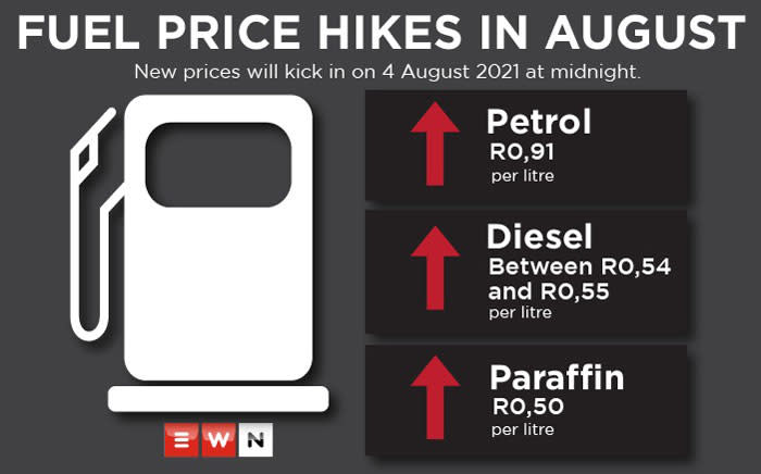 The fuel price goes up on 4 August 2021. Here's how much more motorists can expect to pay at the pumps. Picture: Eyewitness News