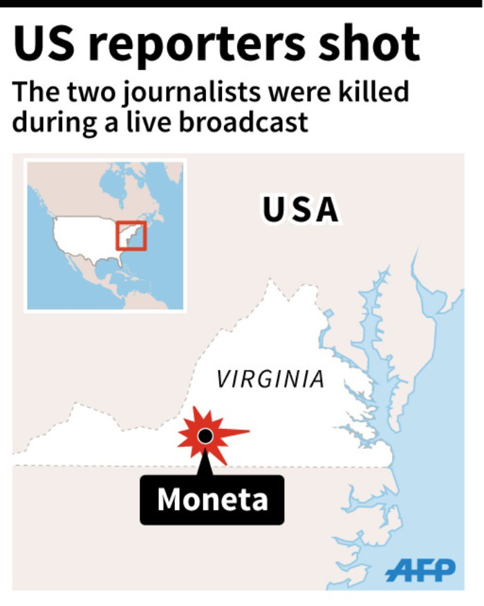 Map locating the town of Moneta, near Roanoke, in the US state of Virginia where two reporters were shot dead on live TV.