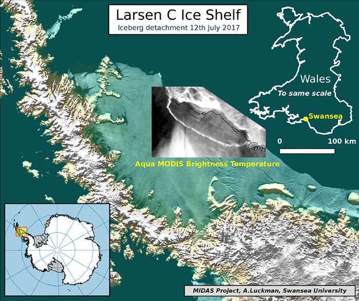 This handout image received on 12 July 2017 from Swansea University shows an illustration depicting an iceberg detachment fron the Larsen C Ice Shelf.