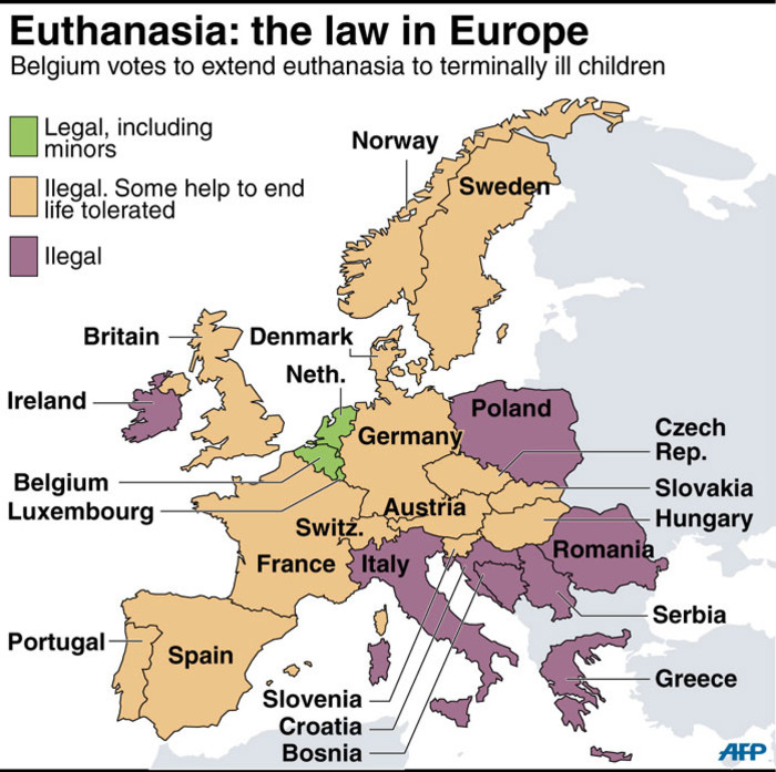 Euthanasia: The law in Europe. Picture: AFP.
