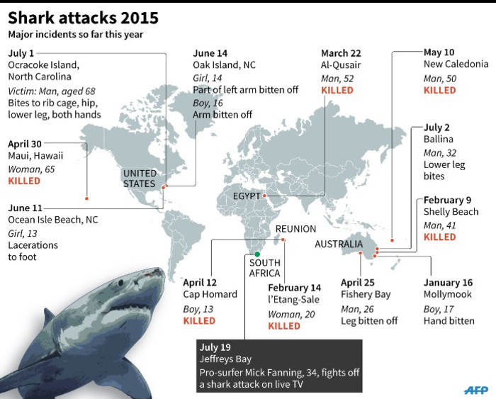 Graphic on major shark attacks worldwide in 2015.
