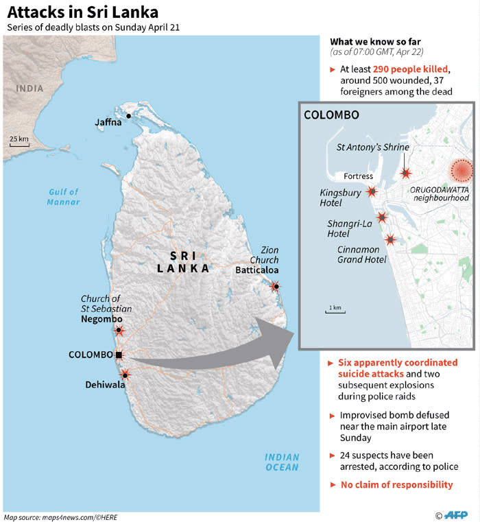 Map of Sri Lanka and Colombo locating the bomb attacks on 21 April 2019. Picture: AFP