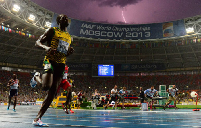 Jamaica's Usain Bolt wins the 100 metres final at the 2013 IAAF World Championships at the Luzhniki stadium in Moscow on August 11, 2013. Picture: AFP.