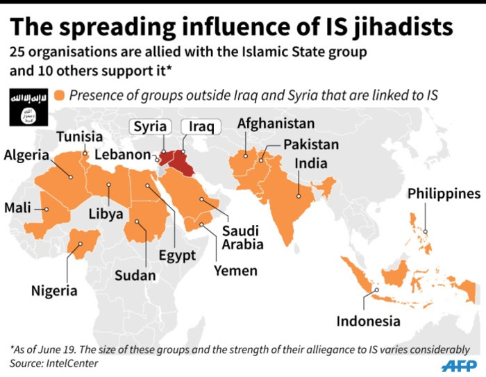World map showing how the influence of IS jihadists has spread from Iraq and Syria.
