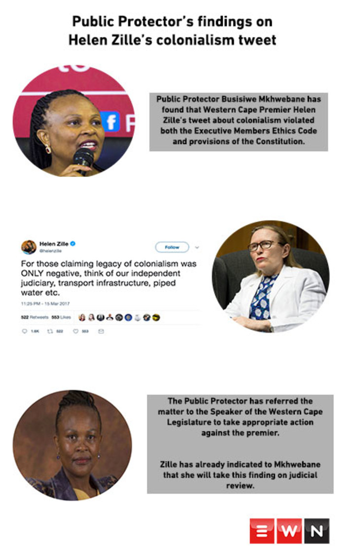 Public Protector Busisiwe Mkhwebane has found that Western Cape Premier Helen Zille's tweet about colonialism violated the Constitution. Picture: Cindy Archillies/EWN