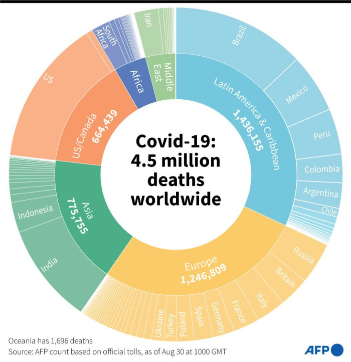 Distribution of 4.5 million deaths worldwide from COVID-19 since the start of the epidemic, according to an AFP tally as of 30 August 2021.