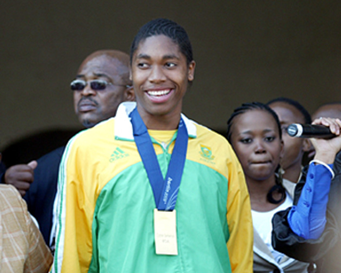 World Championships gold medalist Caster Semenya received a heroes welcome at OR Tambo International Airport on 25 August, 2009. Picture: Taurai Maduna/Eyewitness News