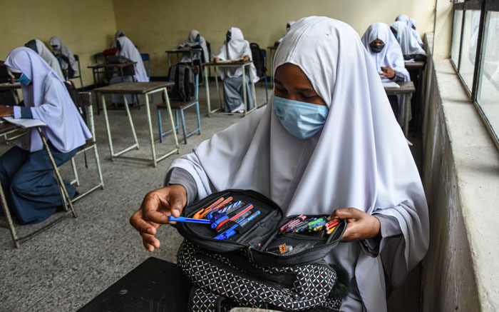Students of Al-Haramain secondary school attend a class on their first day of re-opened school in Dar es Salaam, Tanzania, on 1 June 2020. Picture: AFP