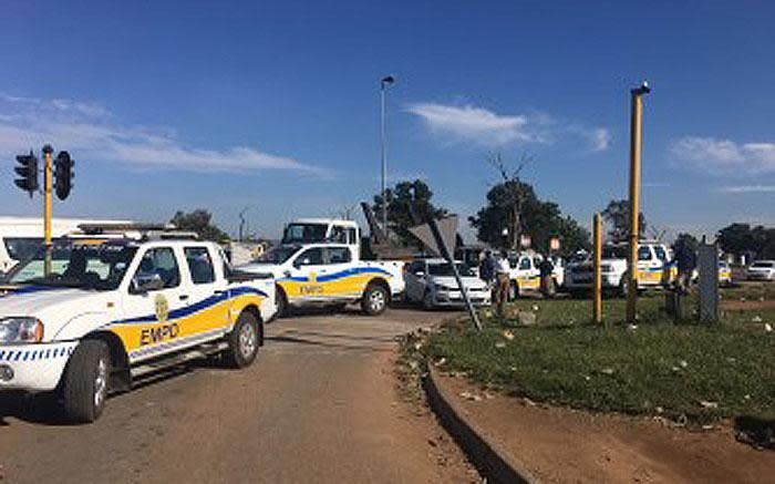 EMPD vans in Reiger Park where residents took to the streets on 9 March 2017 during a service delivery protest. Picture: Mia Lindeque/EWN.