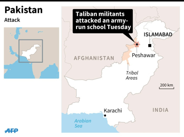 Map locating Peshawar, Pakistan where Taliban militants attacked an army-run school Tuesday. Picture: AFP.