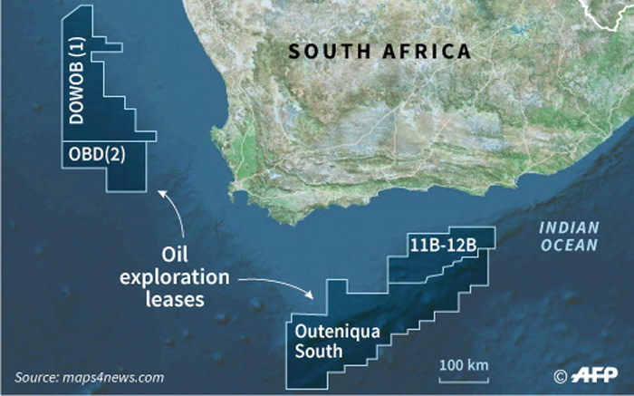 A map of South Africa, locating offshore oil exploration blocks. Petroleum giant Total made a massive gas-condensate discovery in the Outeniqua basin. Picture: AFP
