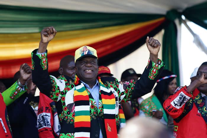 Zimbabwe's President-elect Emmerson Mnangagwa at a Zanu-PF election rally. Picture: AFP