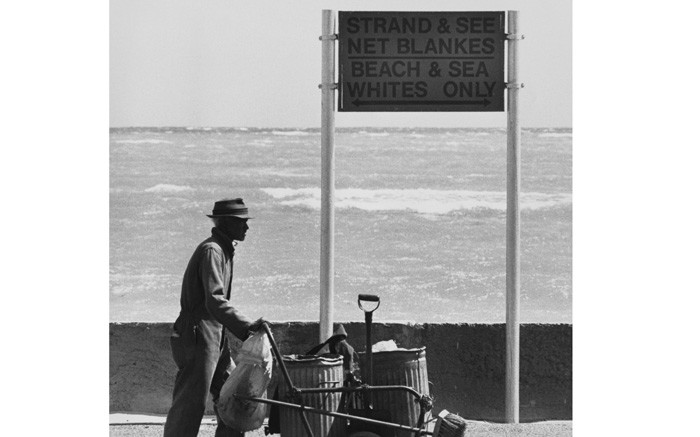 A sign in Strand in 1988 which reads 'Beach and sea; whites only' prior to the end of apartheid in South Africa. Picture: Reuters