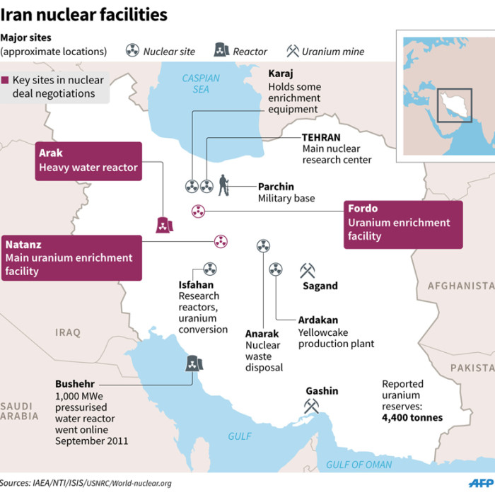 Graphic on Irans main nuclear facilities.