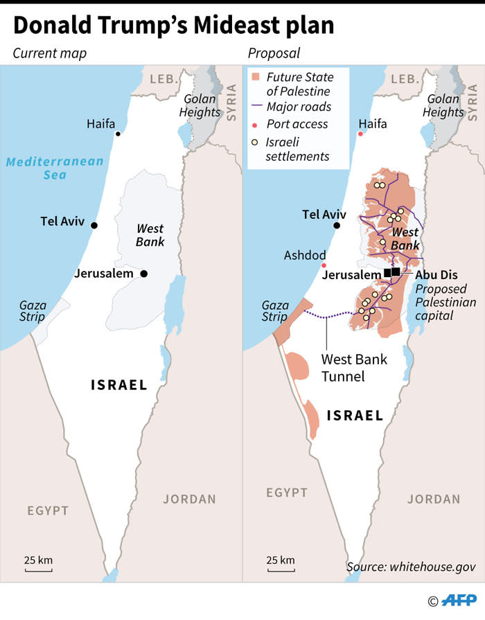 A map of Israel and Palestinian territories showing a proposed Middle East peace plan of US President Donald Trump. Picture: AFP