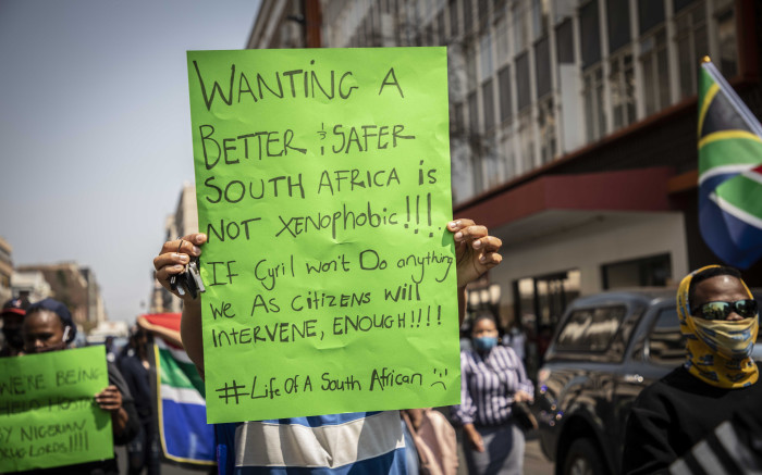 Groups of civil society marched from Church square in Pretoria to  the Nigerian embassy to protest against human trafficking and illegal foreigner nationals on 23 September 2020. Picture: Abigail Javier/EWN
