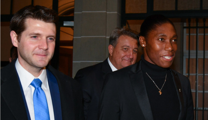 South Africa's 800 metres Olympic champion Caster Semenya (right) and her lawyer Gregory Nott (centre) leave a landmark hearing at the Court of Arbitration for Sport (CAS), in Lausanne, on 18 February 2019. Picture: AFP.