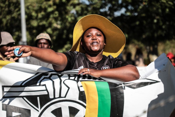 ANC members outside the Senekal Magistrate's Court on 16 October 2020. Picture: Abigail Javier/EWN