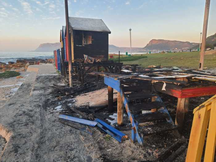 Beach huts at St James beach went up in flames in the early hours of August 8 2020. Image: City of Cape Town