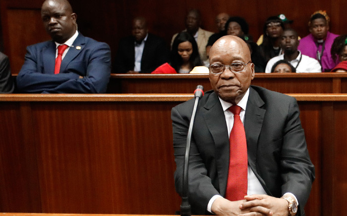 Former South African president Jacob Zuma in the dock at the Durban High Court on 6 April 2018 for a preliminary hearing related to charges of fraud, corruption and racketeering. Picture: AFP