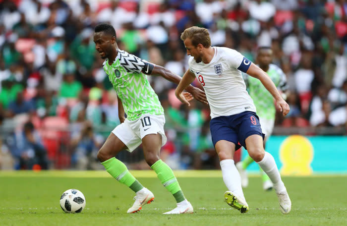 Nigeria in action against England in a World Cup warm-up match. Picture: @NGSuperEagles/Twitter