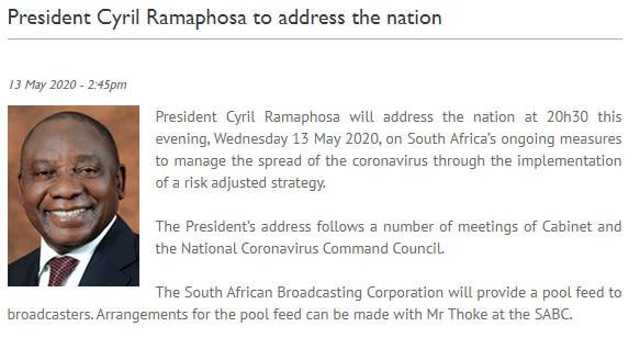 President Cyril Ramaphosa To Address The Nation Tonight