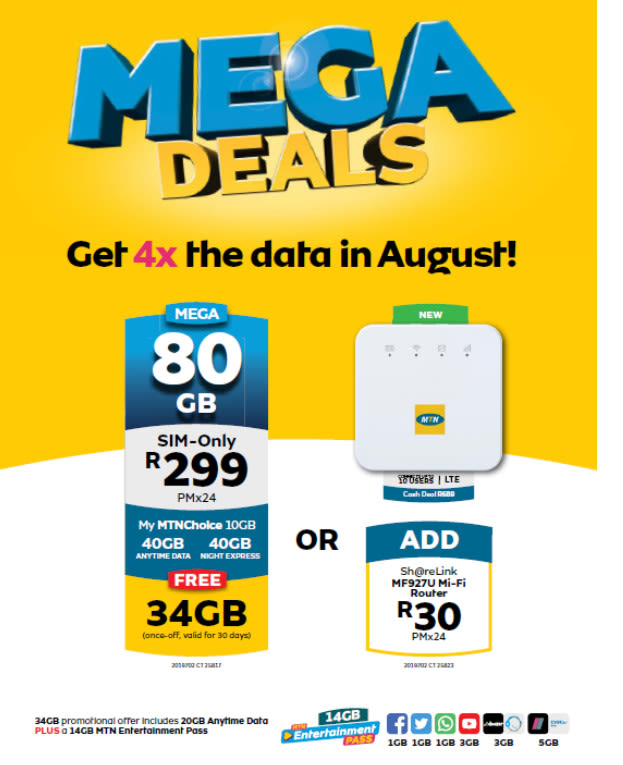Mtn Slashes Price Of Data To R299 For 80gb But For August Only