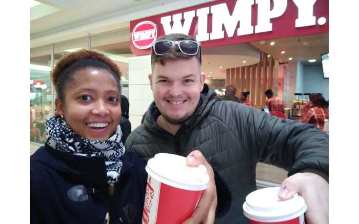 Brandon & Simoné enjoying free Wimpy coffee in the Western Cape after voting.
