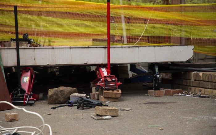The scene where a walkway collapsed at Hoërskool Driehoek, killing 4 children.