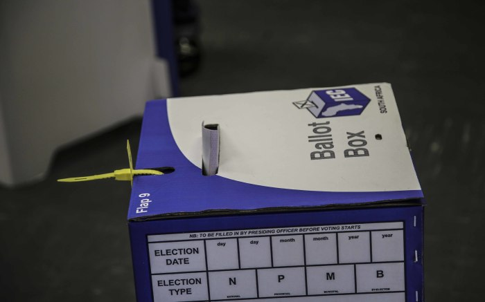 Ballot boxes at the Hector Peterson Library in Lwandle. Picture: Cindy Archillies/EWN.