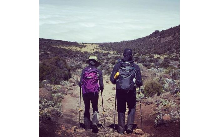 Letshego and Gugu Zulu during the Trek4Mandela climb up Mount Kilimanjaro. Picture: Instagram.