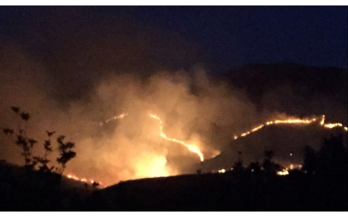 A screengrab shows a fire in the Overberg region. Picture: @OverbergFPA.