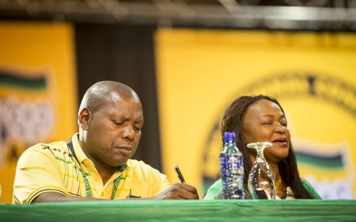 Zweli Mkhize and Baleka Mbete at the ANC's 54th national conference on 16 December 2017. Picture: Thomas Holder/EWN.