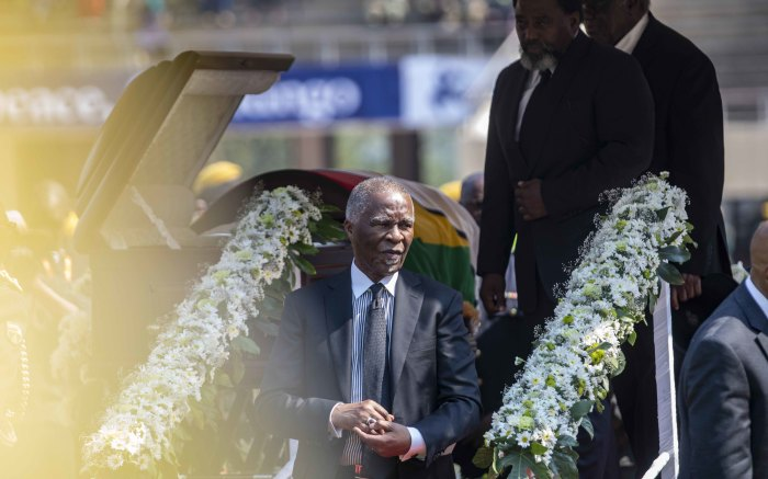 Former South African President Thabo Mbeki after viewing the body of Robert Mugabe.
