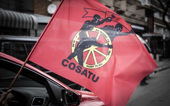 Protester waves a Cosatu flag in Pretoria. Picture: Abigail Javier/EWN