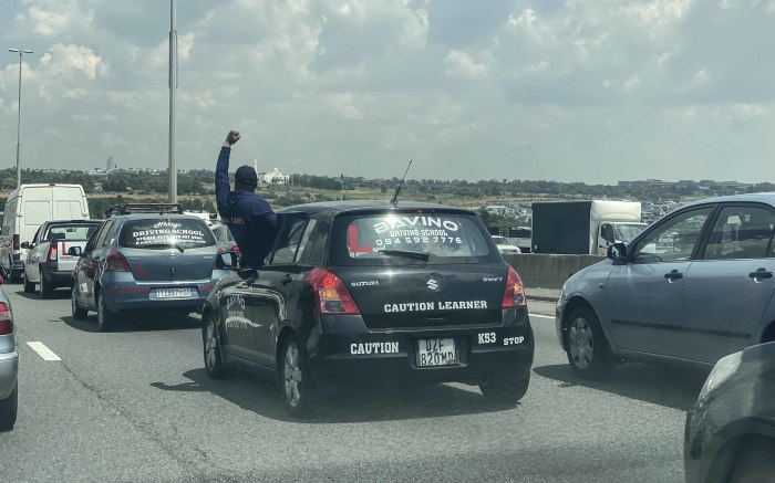 Protesters went on a go-slow on the N1, causing traffic congestion. Picture: Abigail Javier/EWN